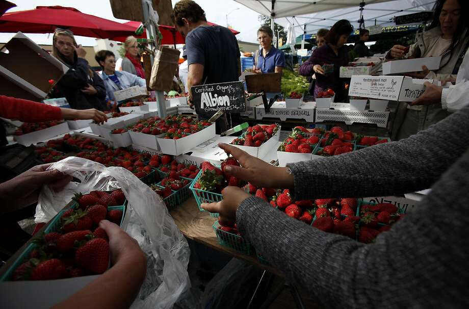 Strawberries for sale at the Tomatero Farm stand at the Palo Alto farmers market in Palo Alto, which draws a crowd every Sunday. Photo: Sarah Rice, Special To The Chronicle