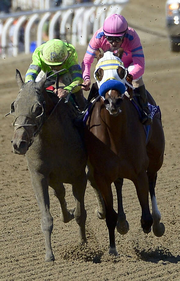 Ria Antonia (left), ridden by Javier Castellano, won the Breeders' Cup Juvenile Fillies in 2013 at Santa Anita. She will be the first filly to run in the Preakness since 2009. Photo: Mark J. Terrill / Associated Press / AP