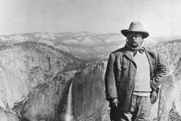 The wonders of nature open up before us … you know, since we can see a lot more of it and our glasses aren't spattered and fogged.   Photo: Here's Theodore Roosevelt in 1903, at Glacier Point in Yosemite National Park in California.