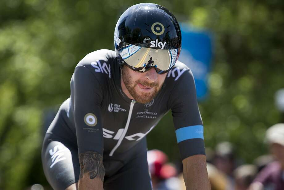 Bradley Wiggins crosses the finish line to win Stage 2 of the Tour of California, taking the overall lead. Photo: Paul Kitagaki Jr., McClatchy-Tribune News Service