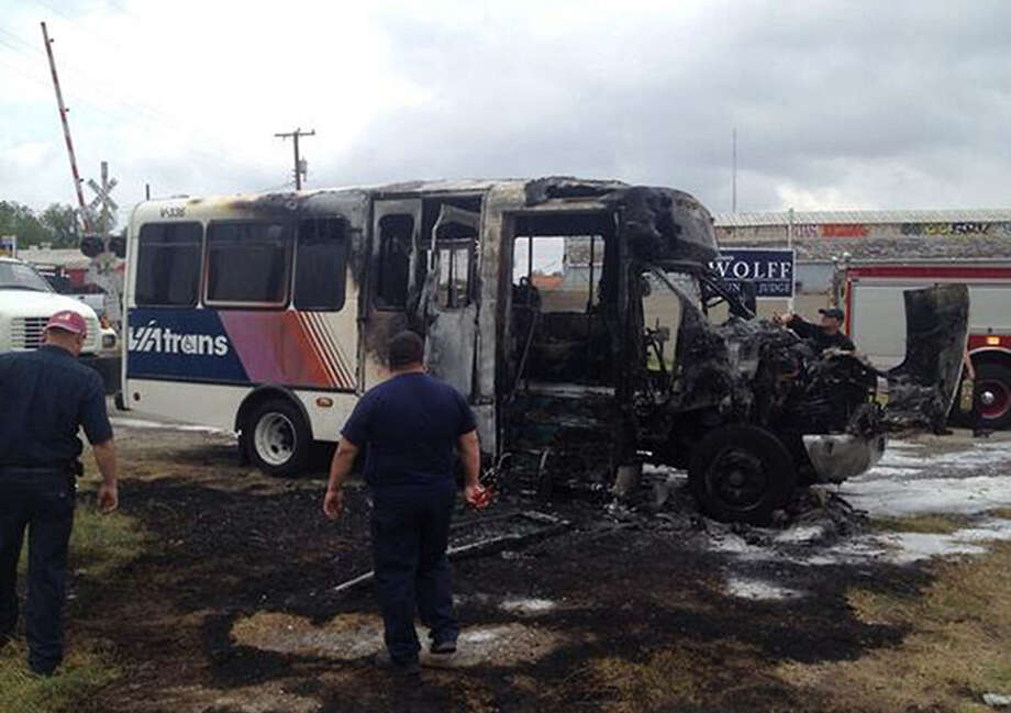 The cause of the fire in the VIA Metropolitan Transit paratransit van was not immediately known. The driver got off Interstate 10 when he saw smoke coming from an air- conditioning vent and pulled into an empty lot off Culebra Road. He had no passen- gers at the time. Photo: Joey Palacios / Texas Public Radio