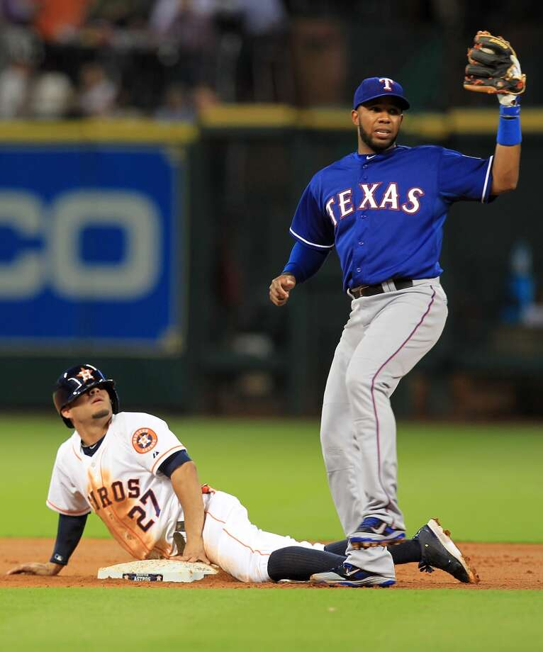 Jose Altuve is tagged out by Rougned Odor. Photo: Mayra Beltran, Houston Chronicle