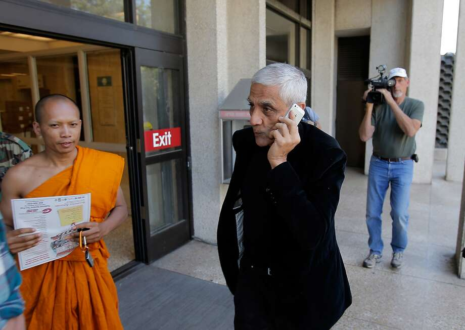 Khosla arrives at San Mateo County Superior Court in Redwood City to testify in the suit over access. Photo: Carlos Avila Gonzalez, The Chronicle