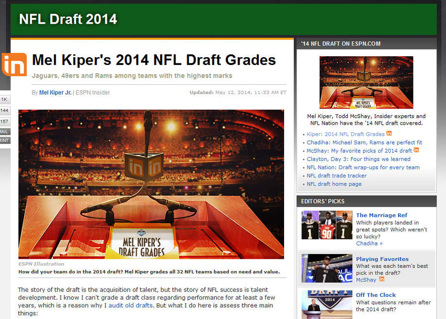 "ESPN: C+  Draft guru Mel Kiper Jr. was not particularly impressed by the players Seattle drafted, giving them a D-plus grade in terms of value. But he gave Seattle a B for drafting to their needs, and conceded that the Seahawks tend to draft players for development instead of immediate use on the field. ""The Seahawks know what they are doing, but it's fair to say they had a couple value questions again today,"" Kiper wrote Saturday. ""I look forward to seeing what becomes of these players."" Photo: Screenshot, ESPN.com"