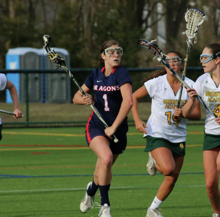 Greens Farms Academy sophomore Ingrid Backe (Fairfield) scored three goals for the Dragons in their 16-4 victory against Hamden Hall May 10. Photo: Contributed Photo / Westport News Contributed