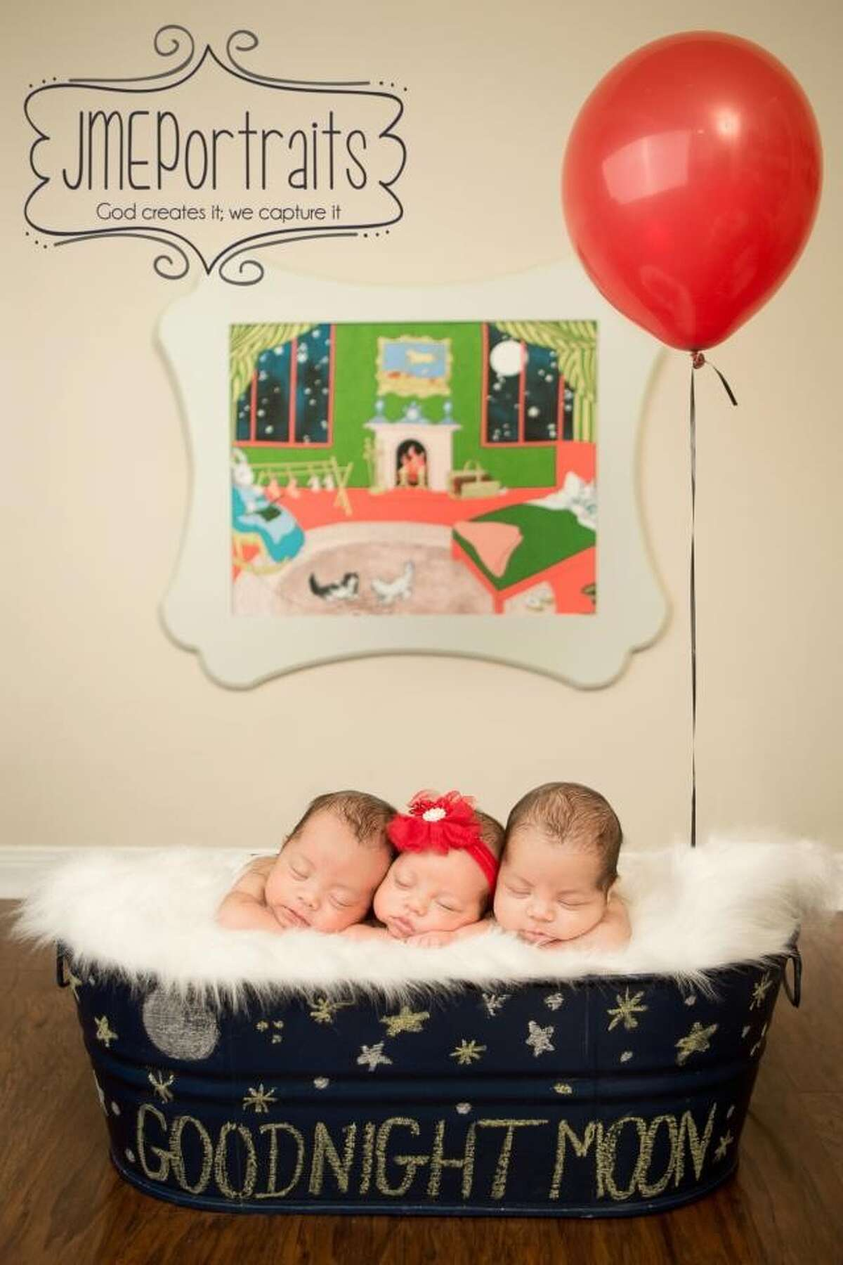 Are your multiples missing from this slideshow? Send a photo to photos@chron.com and we'll add them to the gallery. Houston triplets Jett, Sophia and Grayson (from left) were born on February 4, 2013. In this photo they were one month old, and each weighed 5 pounds.