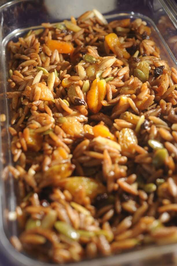 Orzo Fruit at Abbie's Import's in Beaumont Green and black raisins, apricot, pumpkin seed and almonds in a 12-year-old balsamic glaze.  5335 Fannett Road Photo taken Wednesday, July 8, 2012 Guiseppe Barranco/The Enterprise Photo: Guiseppe Barranco, Guiseppe Barranco/The Enterprise