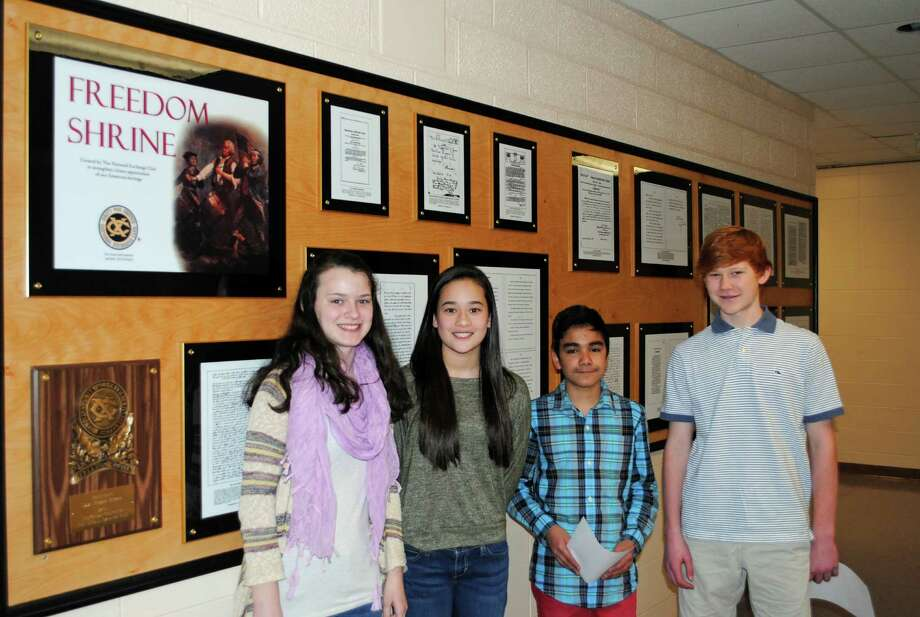 "The Saxe Middle School eighth-grade student representatives who worked with the Exchange Club of New Canaan on the ""Freedom Shrine,"" were, from left, Sophie Price, Emma St. Raymond, Cristobal Toro and Chase Fichtner. Photo: Contributed Photo, Contributed / New Canaan News Contributed"