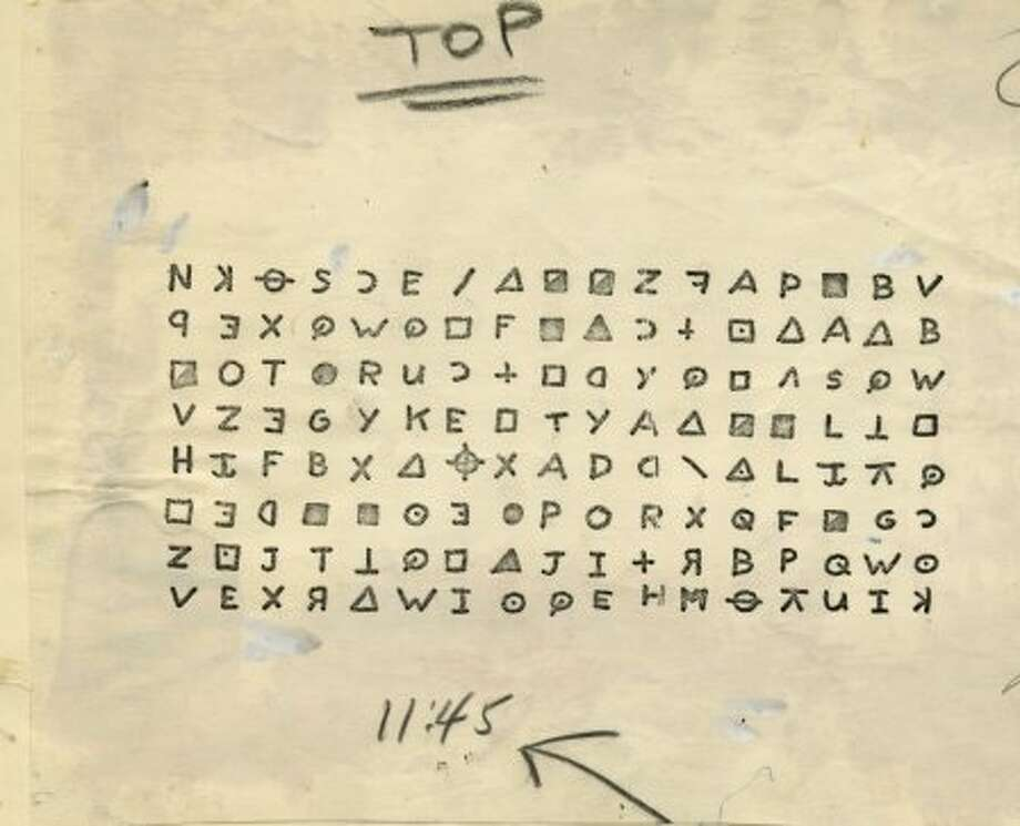Cryptogram coding decorated a Zodiac letter received by The Chronicle in 1969. Photo: Chronicle Archive