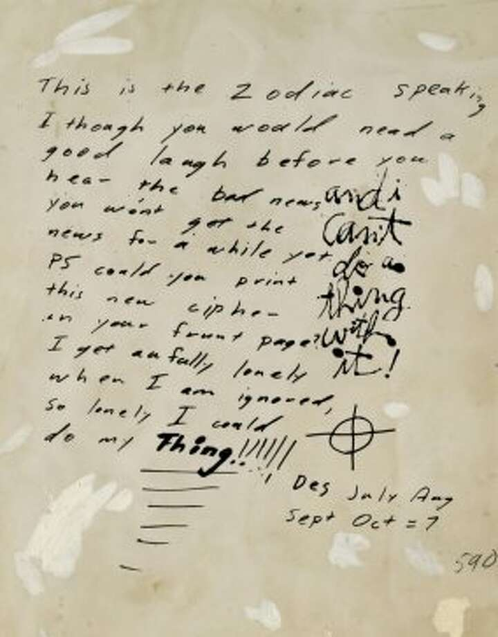 Zodiac killer note from Nov. 12, 1969. Photo: Chronicle Archive