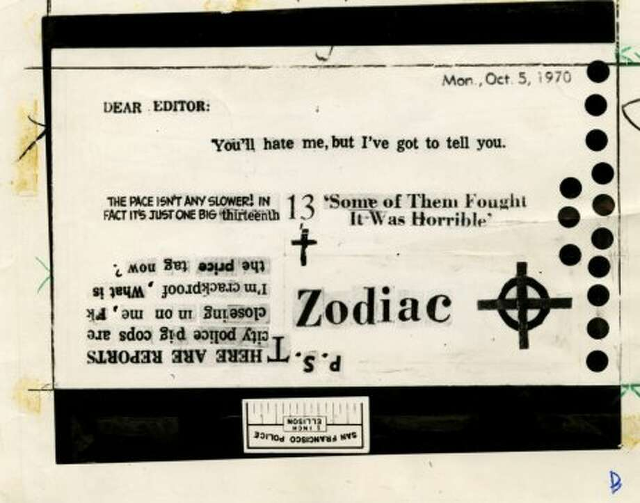 Zodiac killer card sent to Chronicle on Oct. 12, 1970. Photo: Chronicle Archives