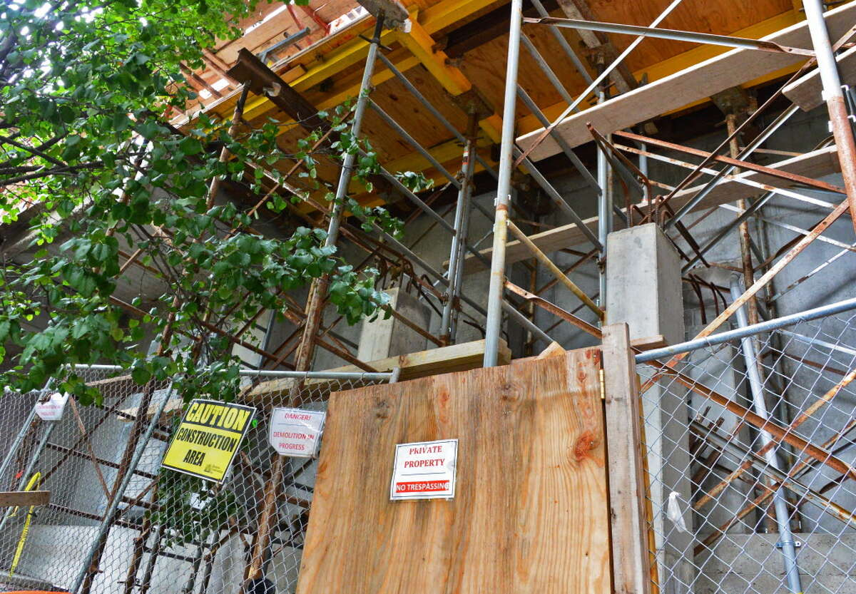 Construction scaffolding behind 422 Broadway Tuesday Sept. 3, 2013, in Saratoga Springs, NY. (John Carl D'Annibale / Times Union)