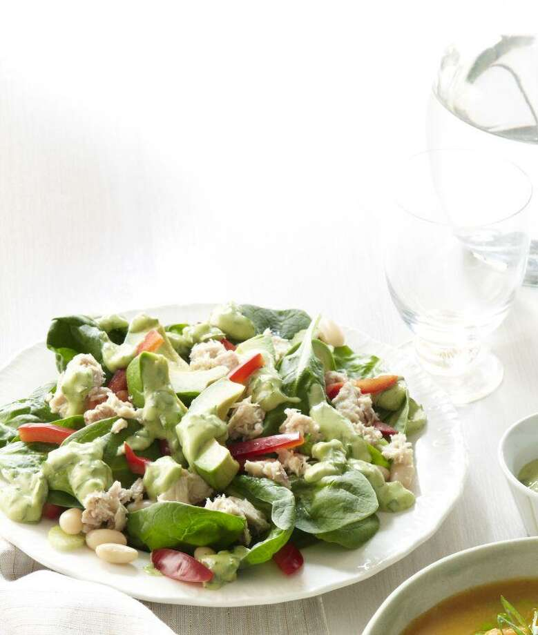 Spinach Salad with Tuna and Avocado recipe from Good Housekeeping. Photo: Kate Mathis / ONLINE_YES