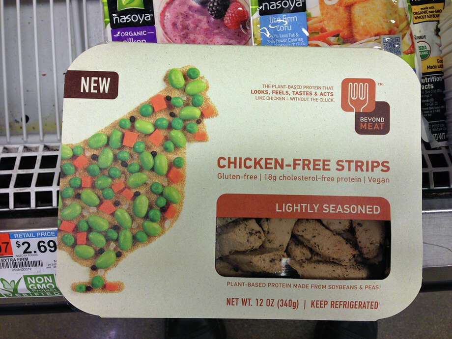"There are more choices than ever for vegetarians with latent carnivorous instincts, from Kellogg's-owned Morningstar Farms products to offerings from Beyond Meat, a new venture funded by heavyweights like Bill Gates and Twitter co-founders Biz Stone and Evan Williams. Above, Beyond Meat's Chicken-Free Strips ""without the cluck."" Photo courtesy of Sid Sowder, Flickr Photo: Contributed Photo, Contributed / New Canaan News Contributed"