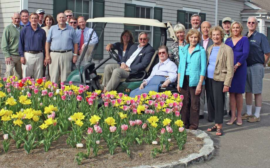 "Major platinum and gold sponsors for Waveny LifeCare Network's 12th annual ""Swinging for Seniors"" Golf and Tennis Outing gathered to finalize plans for the May 19 event. Photo: Contributed Photo, Contributed / New Canaan News Contributed"