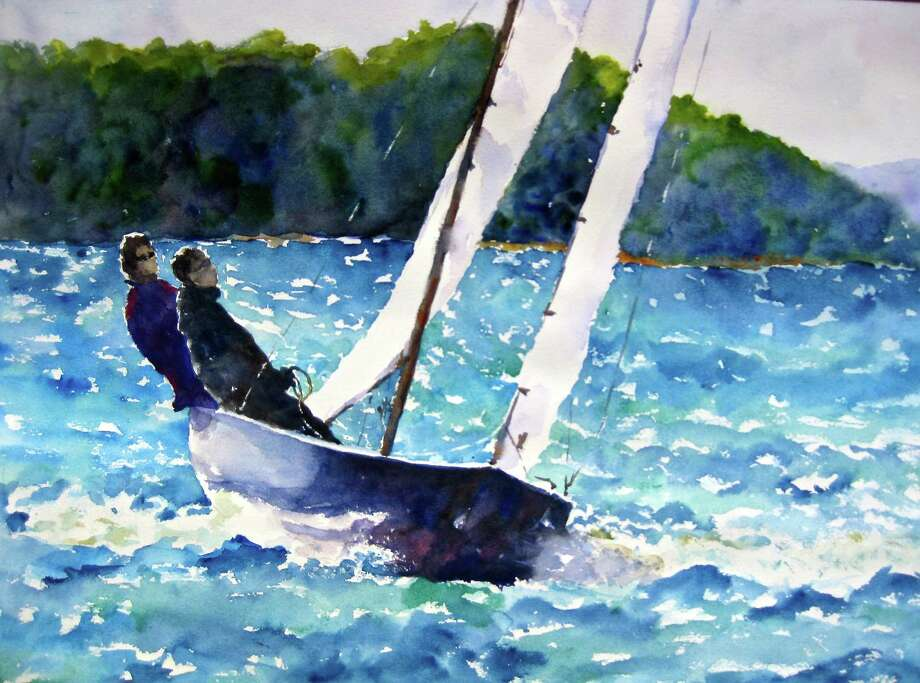 "Wendy MacCordy's ""Perfect Sailing,"" a watercolor on paper, will be on display at Vineyard Vines, 67 Elm St., New Canaan, as part of the Art in the Windows exhibition, featuring 71 local artists at 59 New Canaan stores, from May 22 to June 8. Photo: Contributed Photo, Contributed / New Canaan News Contributed"