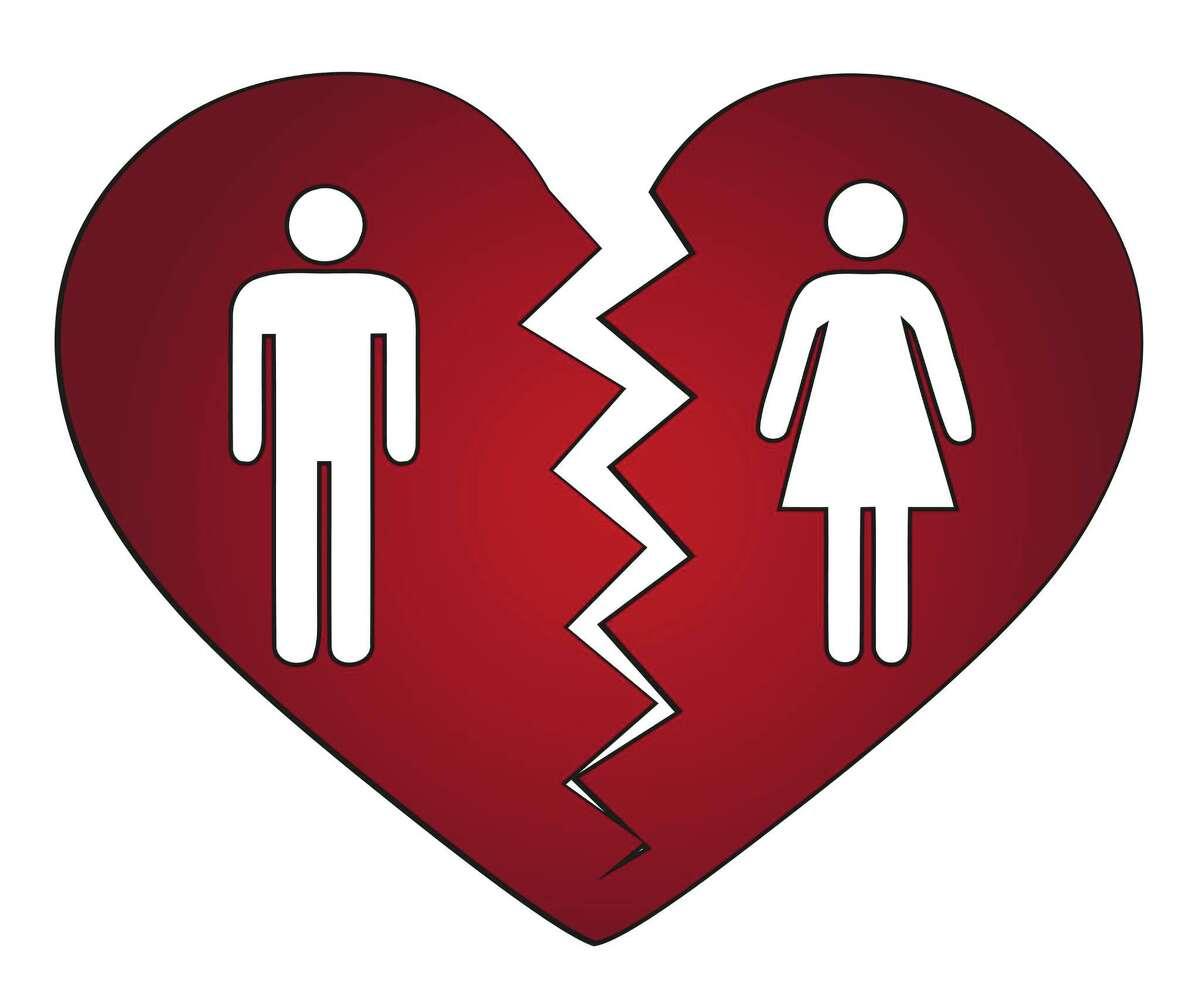 A heart breaks in two in a divorce.