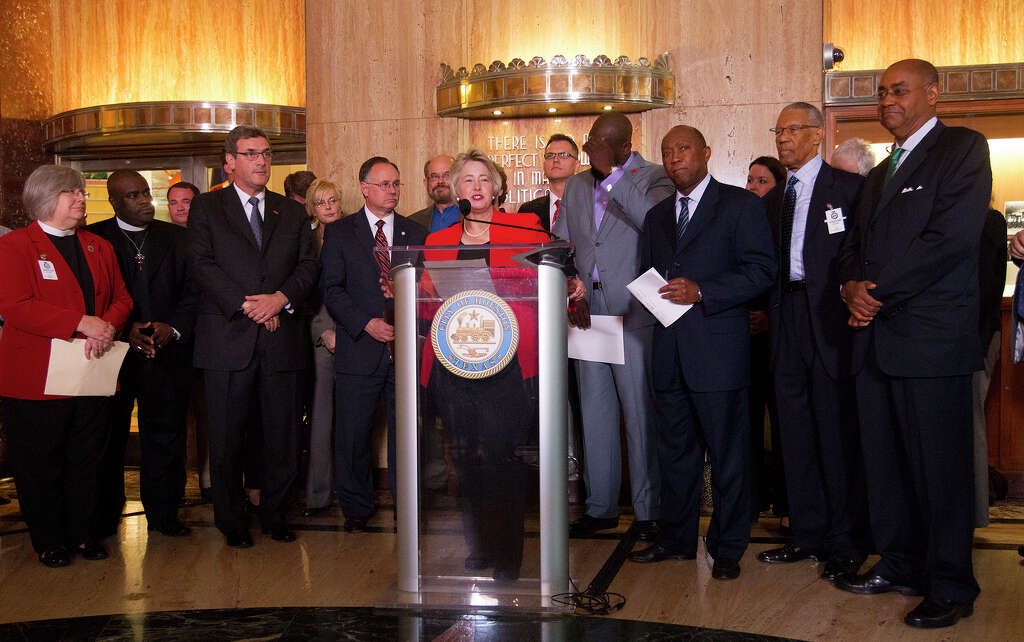 Mayor Annise Parker and supporters of her proposed nondiscrimination ordinance announce a compromise during a news. With equal rights ordinance officially on ballot  campaigns gear