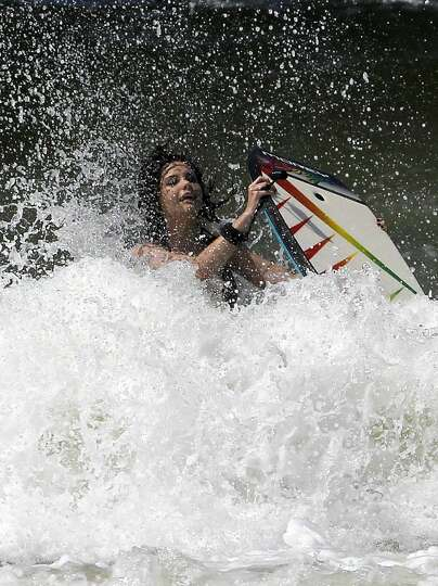 Cece rider: Cece Nash is knocked off her boogie board ...