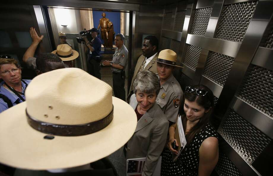 They brought it extra rangers in case Solange shows up:Interior Secretary Sally Jewell (center) takes   the elevator to the 500-foot level at the Washington Monument after a ceremony to celebrate   its reopening. The monument reopened for the first time since August 2011, when it was   damaged in an earthquake. Photo: Associated Press