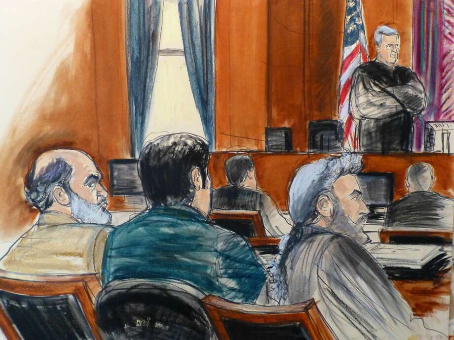 In this March 3 courtroom sketch, defense attorney Stanley Cohen (right) sits next to a translator during jury selection for Sulaiman Abu Ghaith (left), Osama bin Laden's son-in-law. Photo: Elizabeth Williams, Associated Press