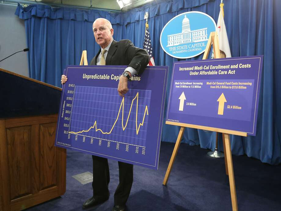 Gov. Jerry Brown uses a chart to illustrate the volatility of capital gains tax revenues as he unveils his spending plan. Photo: Associated Press
