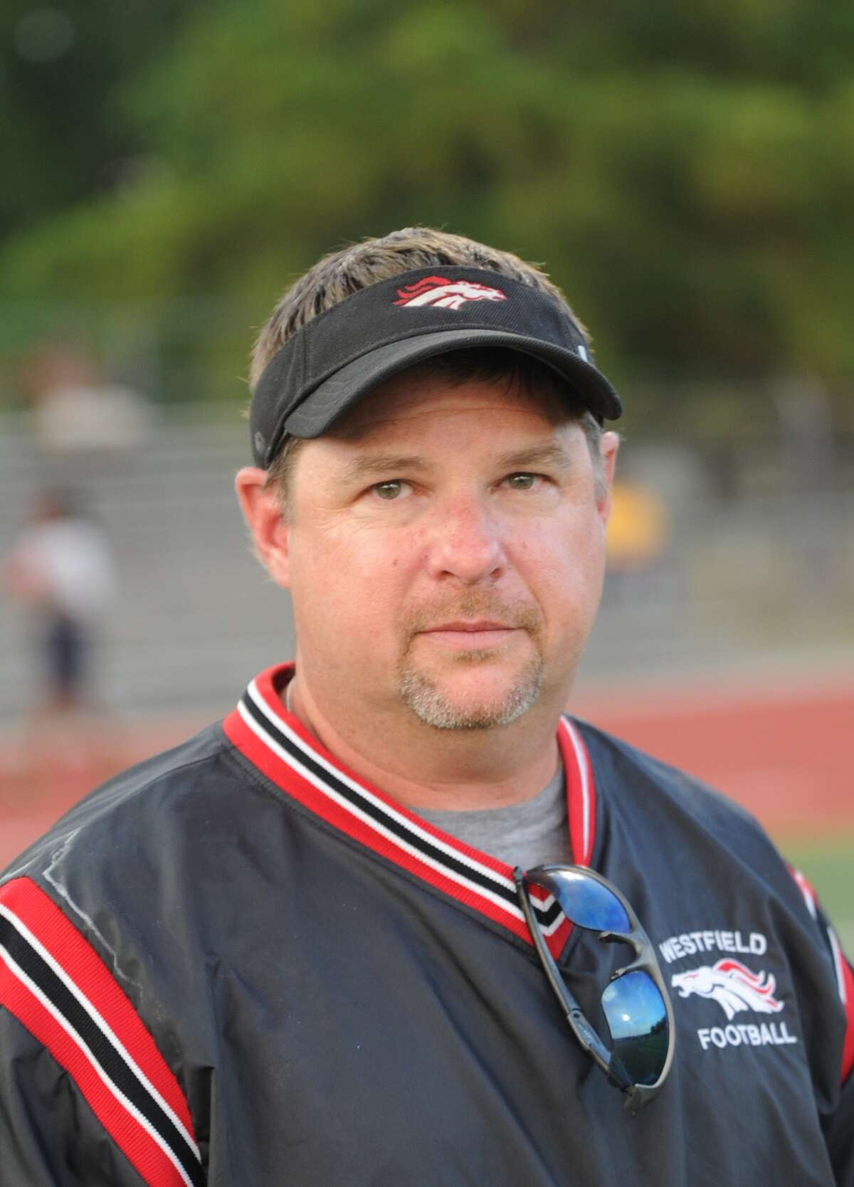 Spring Westfield football team participates in Texas UIL District 13-5A. Varsity football coach for Westfield, Corby Meekins.