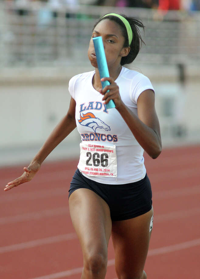Fort Bend Bush's Jarra Owens eyes the finish line in the finals of the 5A Girls 4x400 Meter Relay at the 2014 Region III Track & Field Championship at Turner Stadium in Humble on Saturday. Photo: Jerry Baker, Freelance
