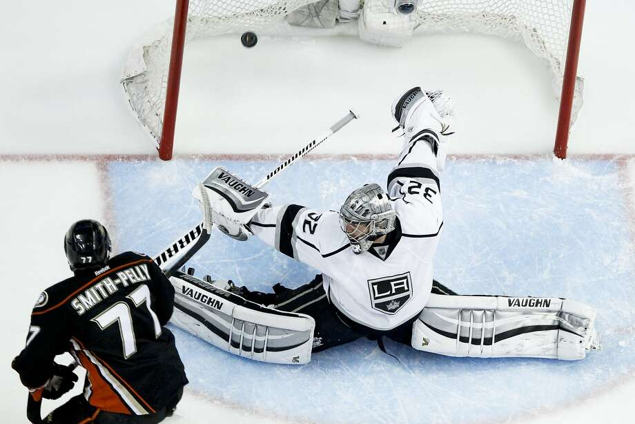 Anaheim Ducks right wing Devante Smith-Pelly srcores past Los Angeles Kings goalie Jonathan Quick during the second period in Game 5 of an NHL hockey second-round Stanley Cup playoff series in Anaheim, Calif., Monday, May 12, 2014. (AP Photo/Chris Carlson) Photo: Chris Carlson, Associated Press