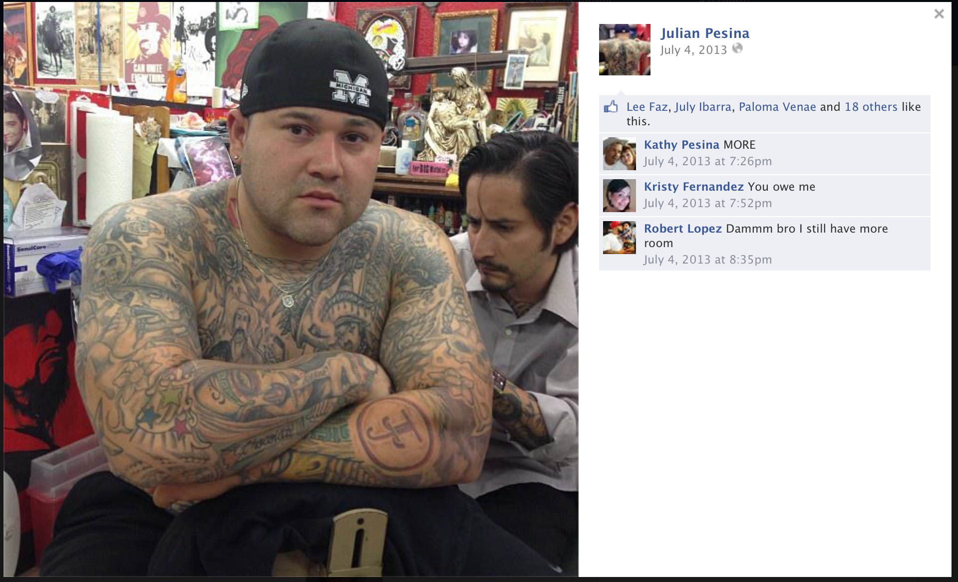 Balcones heights officer warned chief of pesina 39 s gang for Tattoo new braunfels