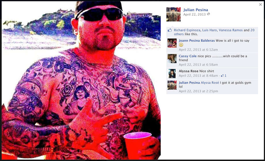 Images from Balcones Heights police officer Julian Pesina's Facebook page are seen in screen captures taken May 5, 2014. Pesina was killed by  two masked gunmen who waited for him to open his tattoo shop Photo: COURTESY / PHOTOS VIA FACEBOOK