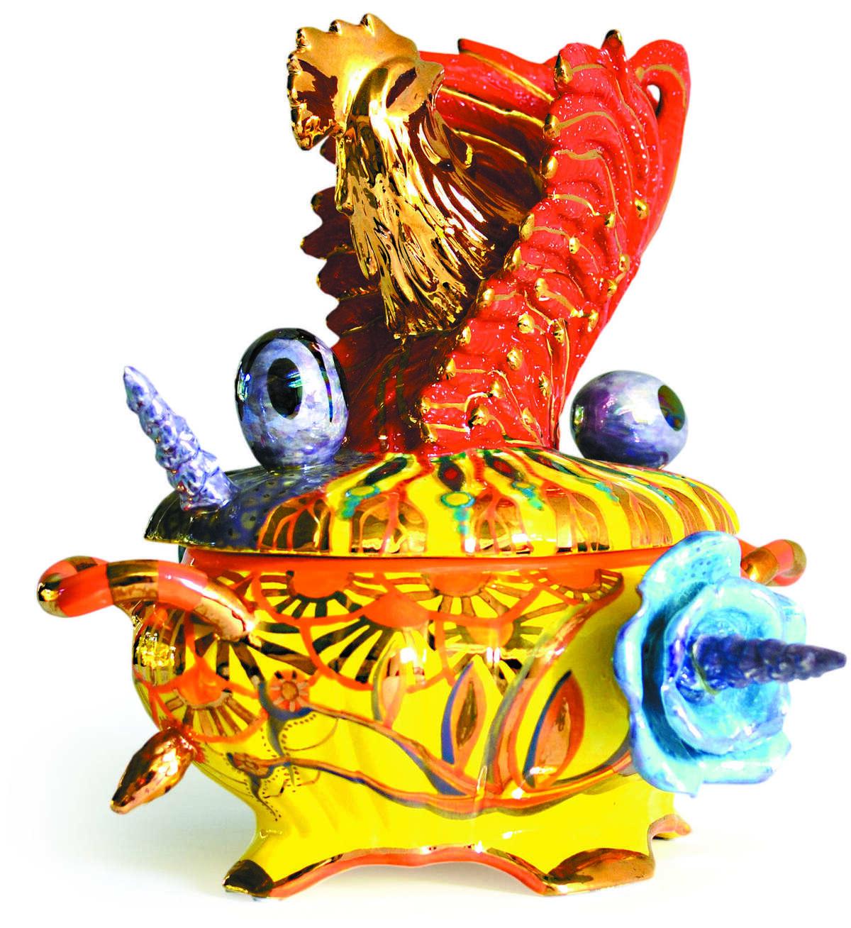 The exhibit also includes Leiva's exuberant, colorful ceramics.