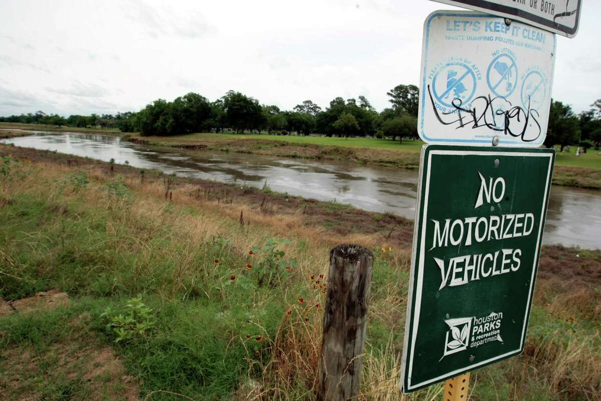 Brays Bayou in Houston is picuted Tuesday, May 13, 2014. See what Texas Equusearch has found beneath Houston's waterways.