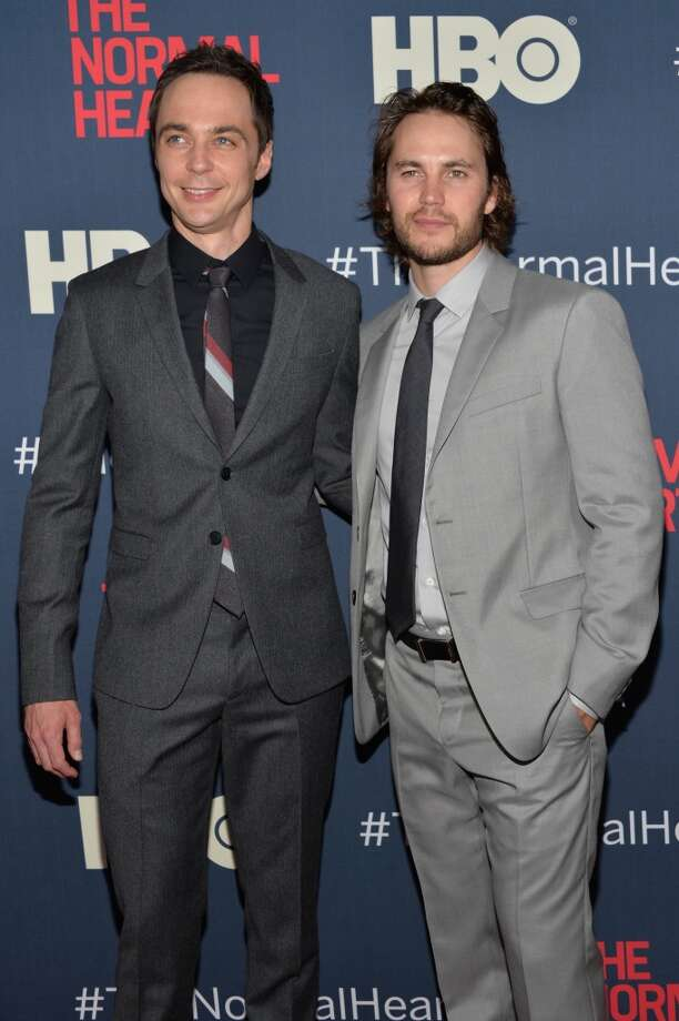 "Jim Parsons and Taylor Kitsch attend the New York premiere of ""The Normal Heart"" at Ziegfeld Theater on May 12, 2014 in New York City. Photo: Ben Gabbe, Getty Images"