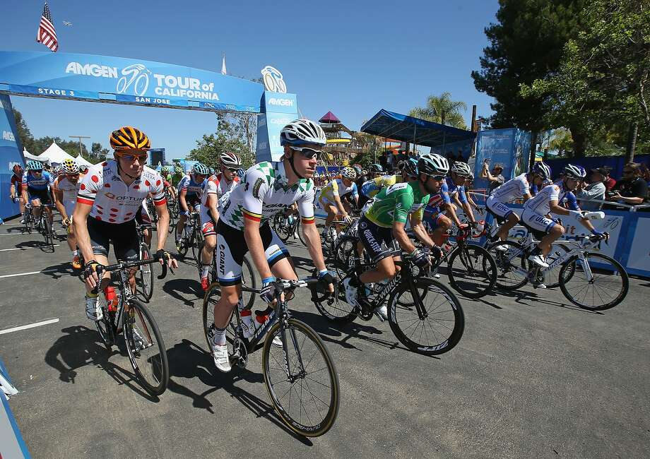 Riders leave the start of stage three of the the 2014 Amgen Tour of California from San Jose to Mount Diablo on May 13, 2014 in San Jose. Photo: Doug Pensinger, Getty Images