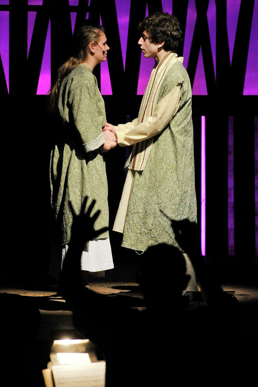 Oliver Prose, plays Japeth, and Patty Kohn, plays the part of Yonah during the dress rehearsal performance of