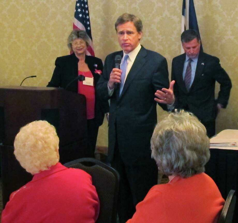 In this Feb. 19, 2014 photo, State Rep. Dan Branch address a Georgetown Area Republican Women's luncheon in Georgetown, Texas.  (AP Photo/Will Weissert) Photo: Will Weissert, STF / AP