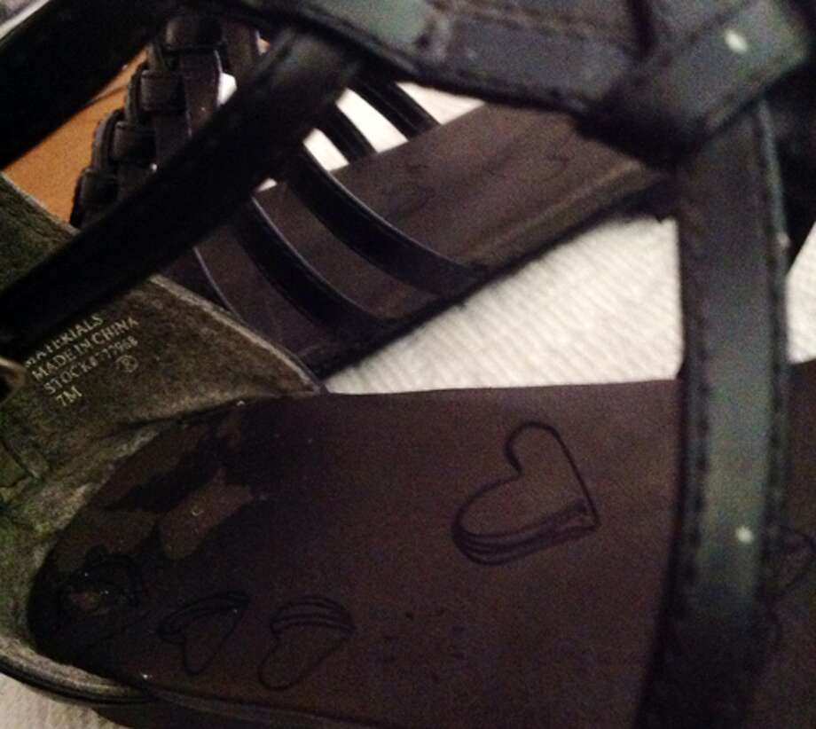 Here's a closer shot of where the inside part of the heel is worn down from usage. Photo: Courtney N. M.