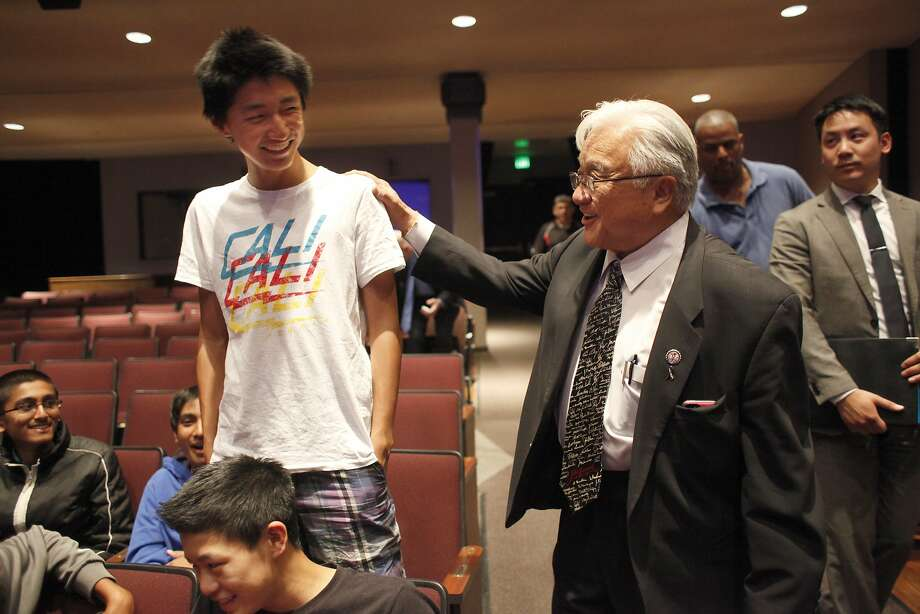 Congressman Mike Honda, talks with  Kevin Zhang, 15, Tuesday May 13, 2014,  at Fremont High School in Sunnyvale, Calif.  Photo: Lacy Atkins, SFC