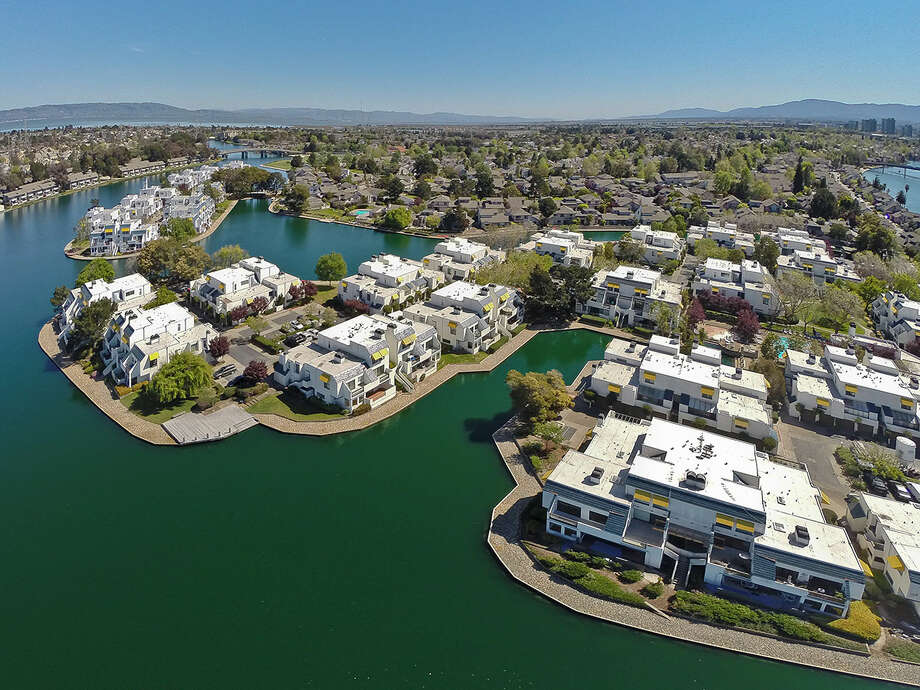 This aerial photo is of a property in Foster City, California.  Photo: OpenHomesPhotography.com/Courtesy
