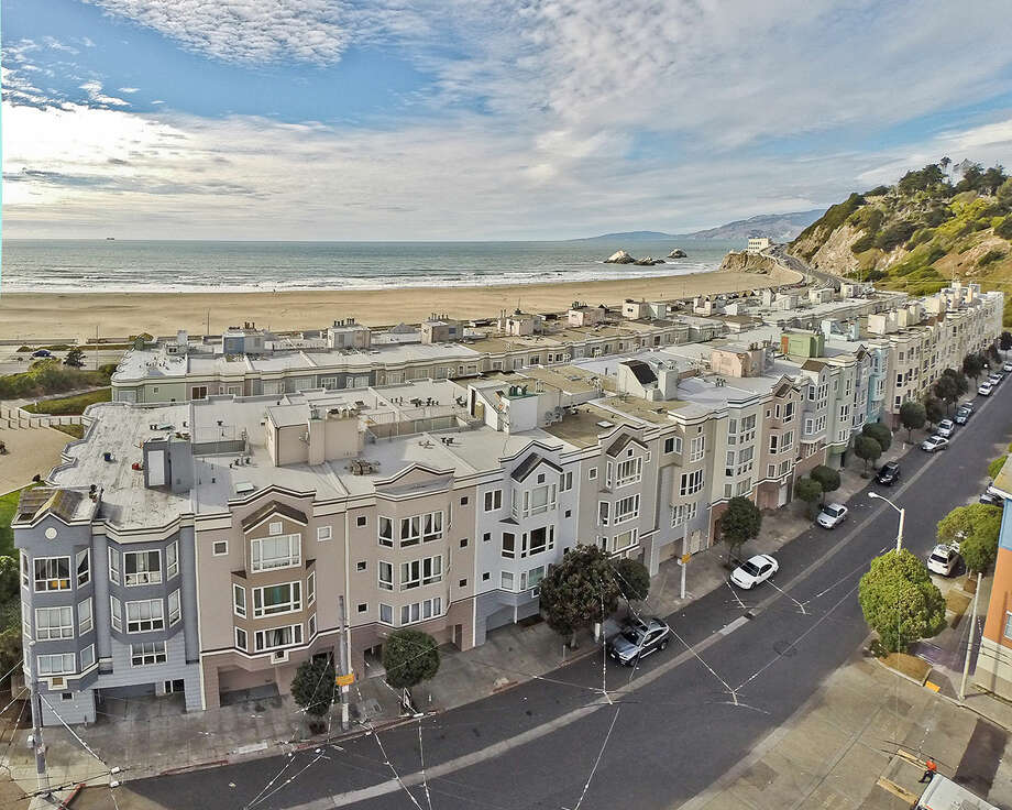 This aerial photo is of a property in San Francisco, California.  Photo: OpenHomesPhotography.com/Courtesy