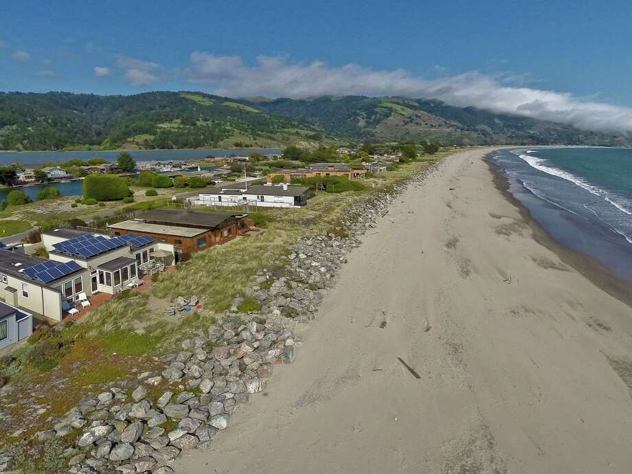 This aerial photo is of a property in Bolinas, California. Photo: OpenHomesPhotography.com/Courtesy