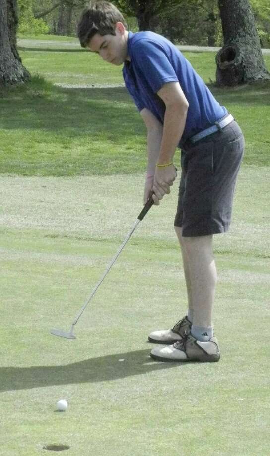Notre Dame-Fairfield senior Dan Walsh putting on the ninth hole on Tuesday, May 13 at Fairchild Wheeler Golf Course in a non-conference match against Bethel. Walsh shot a team-low 40 as Bethel earned a 167-174 win over the Lancers. Photo: Reid L. Walmark / Fairfield Citizen