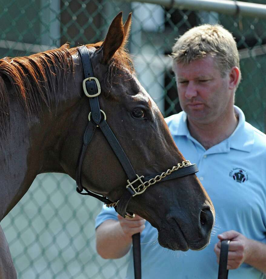 Graham Motion's assistant David Rock stands with Kentucky Derby winner Animal Kingdom while his gets his bath this morning June 10, 2011, after his morning gallop at Belmont Park in Elmont, N.Y.   (Skip Dickstein / Times Union) Photo: SKIP DICKSTEIN