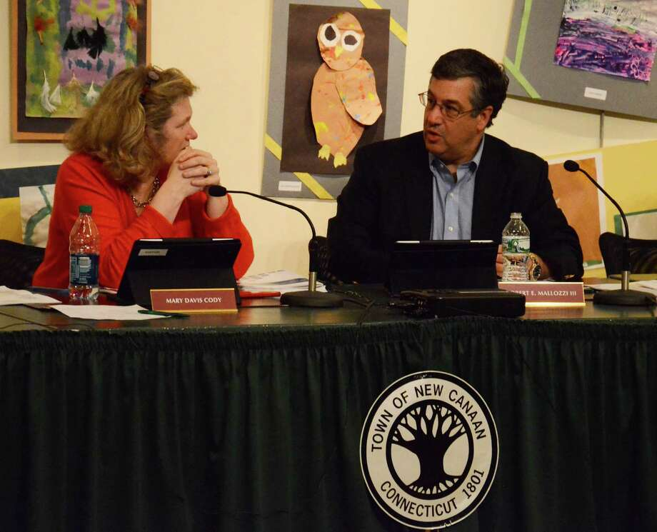 Board of Finance Chairman Robert Mallozzi and member Mary Davis Cody at a meeting Tuesday night, May 13, 2014, at the New Canaan Nature Center, in New Canaan, Conn. Photo: Nelson Oliveira / New Canaan News