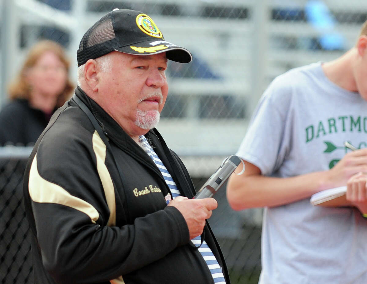 Trumbull Coach Bill Gadus, during boys track action against Westhill and Staples in Trumbull, Conn. on Tuesday May 13, 2014.
