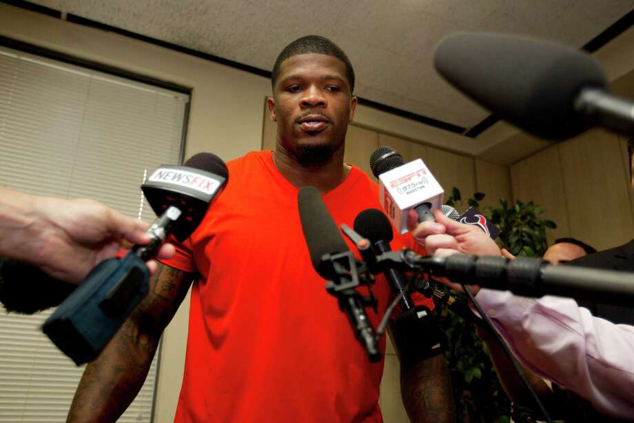 After donating $30,000 to the Houston Area Women's Center on Tuesday, Andre Johnson disclosed his unhappiness with the Texans. Photo: Brett Coomer, Staff / © 2014 Houston Chronicle
