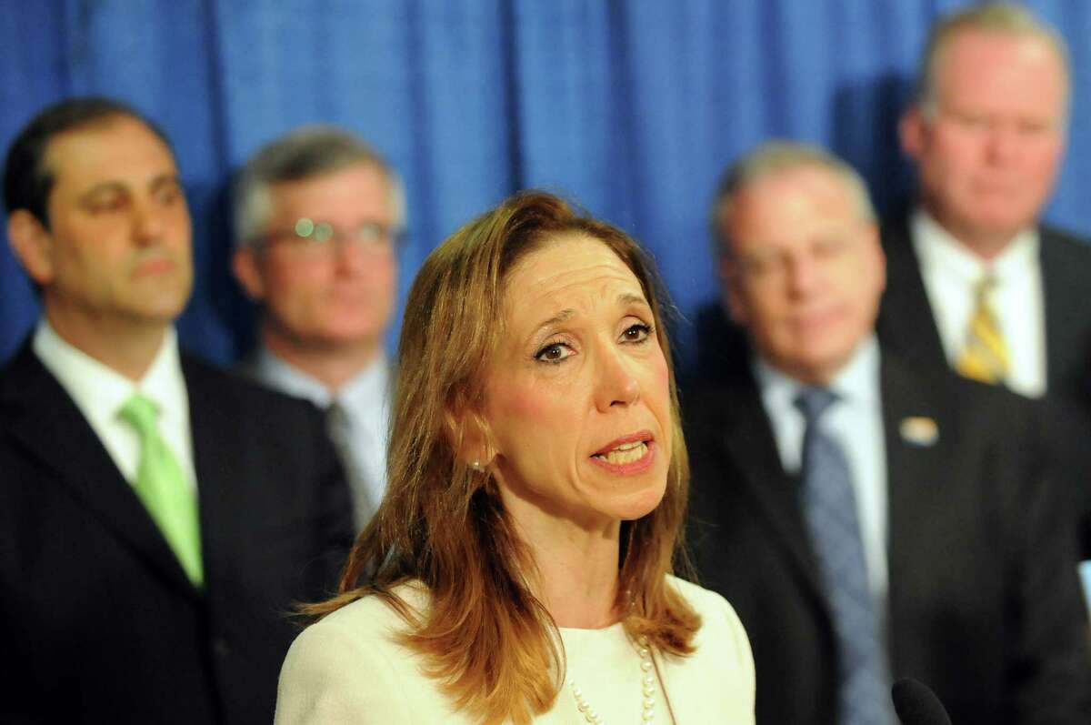 Assemblywoman Amy Paulin, sponsor of the bill, center, speaks during a news conference to push for the Trafficking Victims Protection and Justice Act on May 13, 2014, at the Legislative Office Building in Albany, N.Y. (Cindy Schultz / Times Union)