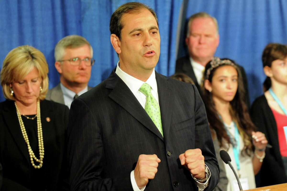 Sen. Andrew Lanza, sponsor of the bill, center, speaks during a news conference to push for the Trafficking Victims Protection and Justice Act on May 13, 2014, at the Legislative Office Building in Albany, N.Y. (Cindy Schultz / Times Union)