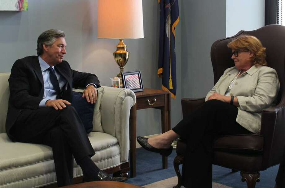 Sen. Heidi Heitkamp, D-N.D., meets with Gary Doer, Canada's ambassador to the United States, to talk about the Keystone XL pipeline on May 13, 2014. (Office of Sen. Heidi Heitkamp) Photo: Office Of Sen. Heidi Heitkamp